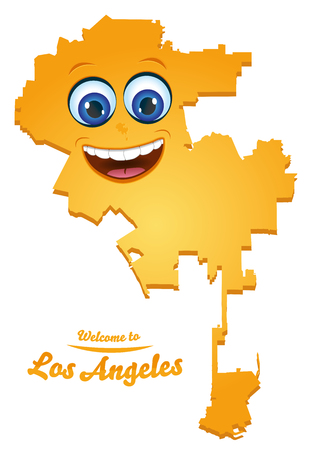 Los Angeles California city map with smiling face illustration