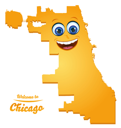Chicago Illinois city map with smiling face illustration