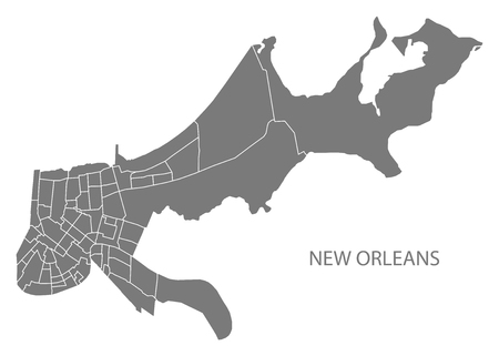 New Orleans Louisiana city map with neighborhoods grey illustration silhouette shape