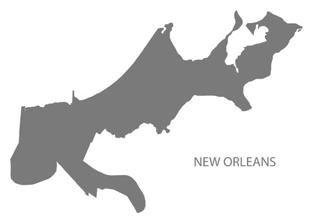 New Orleans Louisiana city map grey illustration silhouette shape