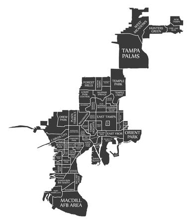 Tampa Florida city map USA labelled black illustration Illustration