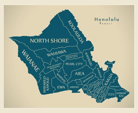 Modern City Map - Honolulu Hawaii city of the USA with neighborhoods and titles Ilustração