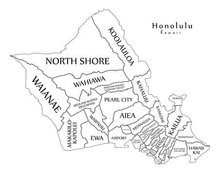 Modern City Map - Honolulu Hawaii city of the USA with neighborhoods and titles outline map Ilustração