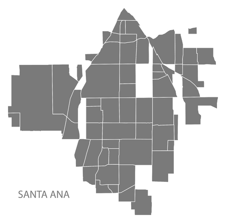 Santa Ana California city map with neighborhoods grey illustration silhouette shape