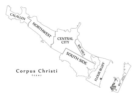 Modern City Map - Corpus Christi Texas city of the USA with neighborhoods and titles outline map Illustration