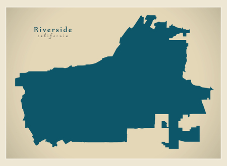 Modern City Map - Riverside California city of the USA 向量圖像
