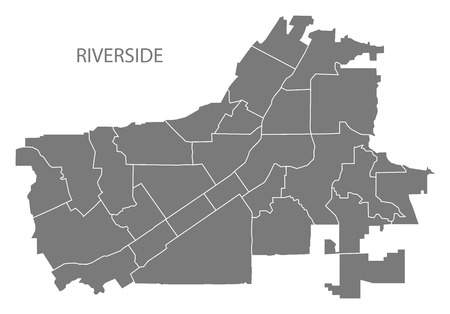 Riverside California city map with neighborhoods grey illustration silhouette shape 向量圖像