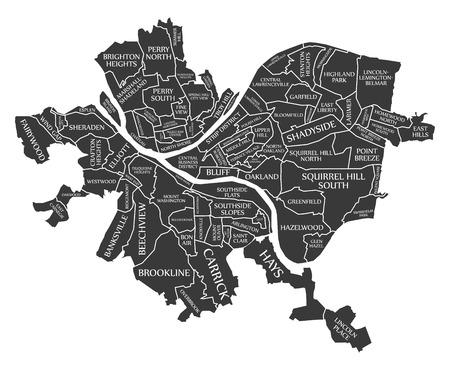 Mapa de la ciudad de Pittsburgh, Pensilvania, EE.UU. etiquetados ilustración negra