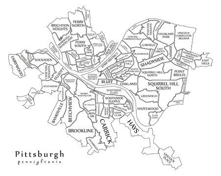 Modern City Map - Pittsburgh Pennsylvania city of the USA with neighborhoods and titles outline map