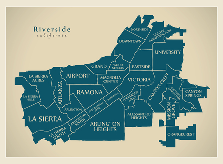 Modern City Map - Riverside California city of the USA with neighborhoods and titles 向量圖像