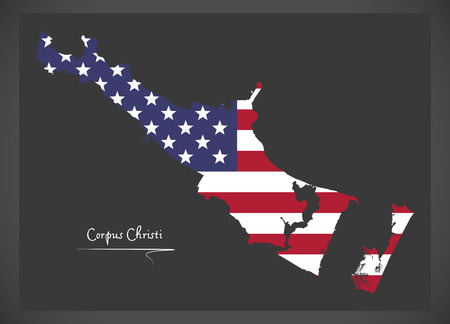 Corpus Christi Texas map with American national flag illustration Illustration