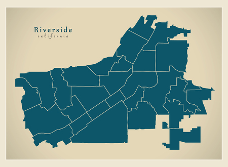 Modern City Map - Riverside California city of the USA with neighborhoods Ilustração
