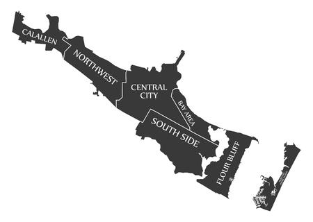Corpus Christi Texas city map USA labelled black illustration Illustration