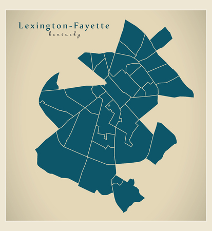 Modern City Map - Lexington-Fayette Kentucky city of the USA with neighborhoods