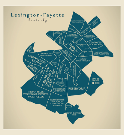 Modern City Map - Lexington-Fayette Kentucky city of the USA with neighborhoods and titles Illustration