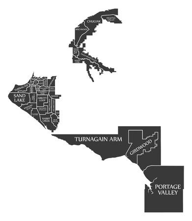 Anchorage Alaska city map USA labelled black illustration
