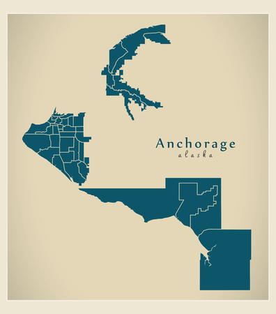 Modern City Map - Anchorage Alaska city of the USA with neighborhoods Imagens - 114898128