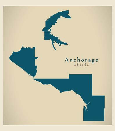 Mappa della città moderna - Anchorage Alaska, città degli Stati Uniti
