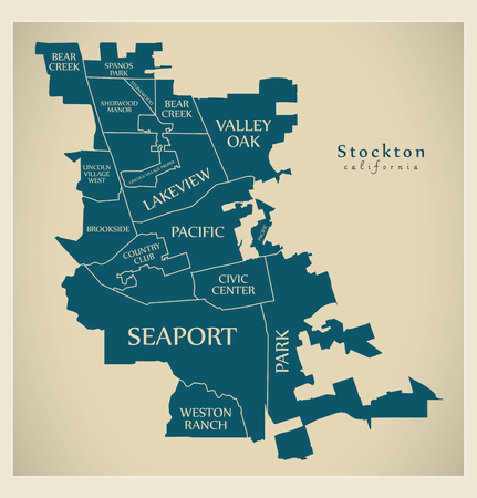 Modern City Map - Stockton California city of the USA with neighborhoods and titles
