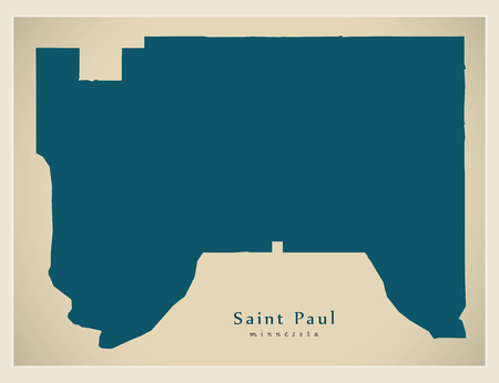 Modern City Map - Saint Paul Minnesota city of the USA