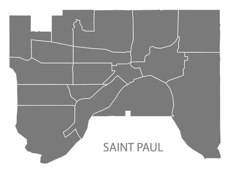 Saint Paul Minnesota mappa della città con i quartieri grigio illustrazione sagoma sagoma