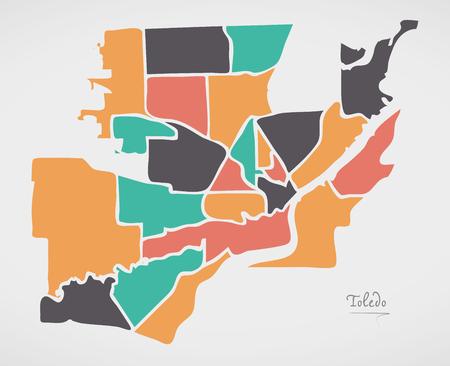 Toledo Ohio Map with neighborhoods and modern round shapes Illustration