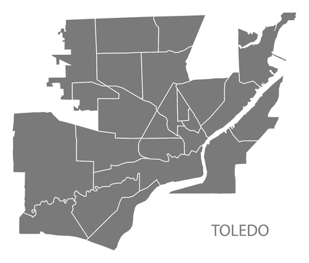 Toledo Ohio city map with neighborhoods grey illustration silhouette shape