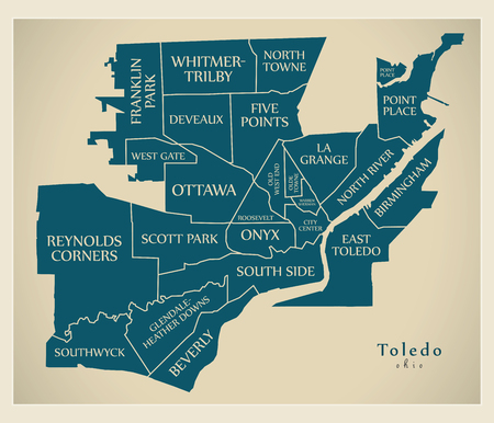 Modern City Map - Toledo Ohio city of the USA with neighborhoods and titles Illustration