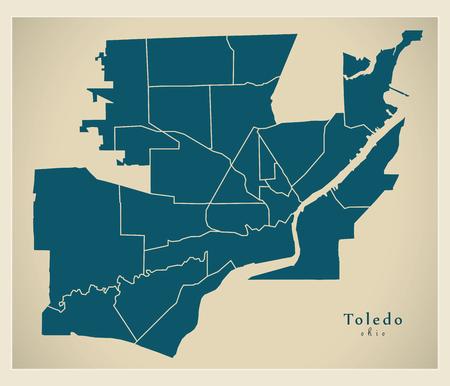 Modern City Map - Toledo Ohio city of the USA with neighborhoods