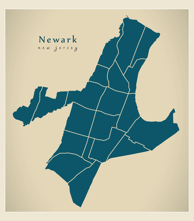 Modern City Map - Newark New Jersey city of the USA with neighborhoods Illusztráció