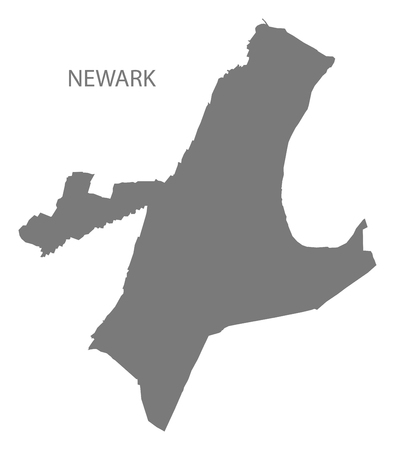 Newark New Jersey city map grey illustration silhouette shape