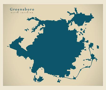 Modern City Map - Greensboro North Carolina city of the USA