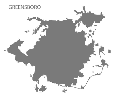 Greensboro North Carolina city map grey illustration silhouette shape