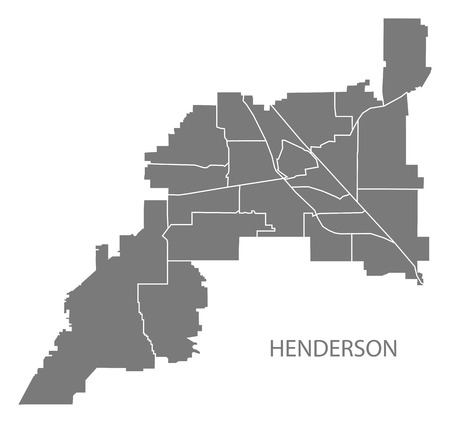 Henderson Nevada city map with neighborhoods grey illustration silhouette shape Illusztráció