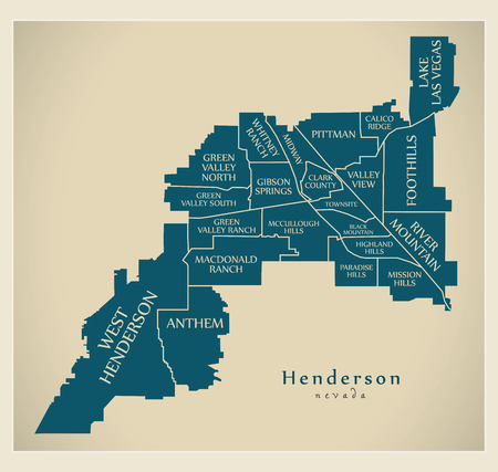Modern City Map - Henderson Nevada city of the USA with neighborhoods and titles