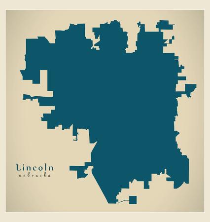 Modern City Map - Lincoln Nebraska city of the USA
