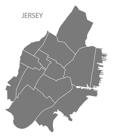Jersey New Jersey city map with neighborhoods grey illustration silhouette shape