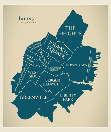 Modern City Map - Jersey New Jersey city of the USA with neighborhoods and titles Imagens - 111516693