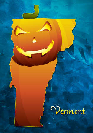 Vermont state map USA with halloween pumpkin face illustration