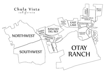 Modern City Map - Chula Vista California city of the USA with neighborhoods and titles outline map Illusztráció