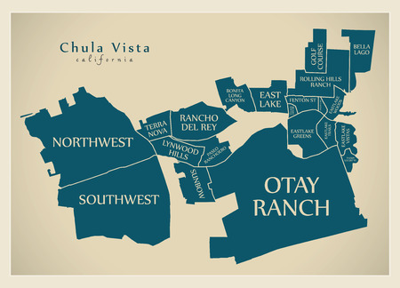 Modern City Map - Chula Vista California city of the USA with neighborhoods and titles