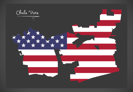 Chula Vista California map with American national flag illustration
