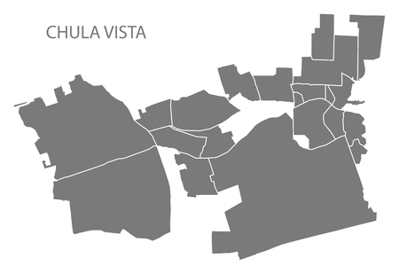 Chula Vista California city map with neighborhoods grey illustration silhouette shape