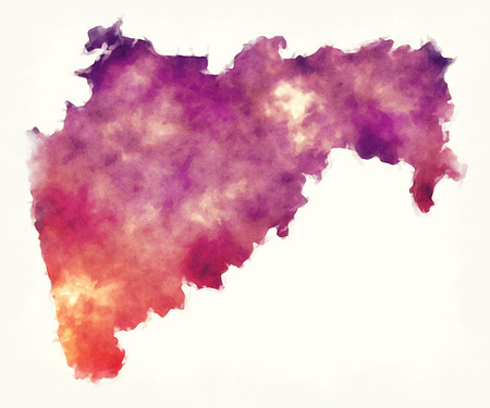 Maharashtra federal state watercolor map of India in front of a white background