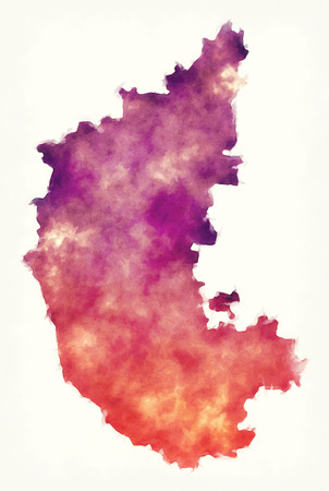 Karnataka federal state watercolor map of India in front of a white background Stock Photo