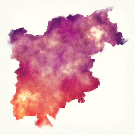 Trentino - South Tyrol region watercolor map of Italy in front of a white background