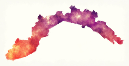 Liguria region watercolor map of Italy in front of a white background