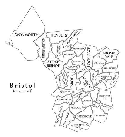 Modern City Map - Bristol city of England with wards and titles UK outline map Illustration