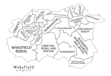 Modern City Map - Wakefield city of England with wards and titles UK outline map