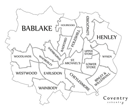 Modern City Map - Coventry city of England with wards and titles UK outline map